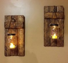 Wood Sconce Rustic Home Decor Rustic candle holder Rustic image 2 Wood Sconce, Rustic Wall Sconces, Candle Sconces, Rustic Wood Walls, Reclaimed Wood Furniture, Cabin Furniture, Western Furniture, Rustic Furniture, Furniture Design