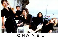 Chanel spring-summer 1990 ad campaign with Helena Christensen, Michelle Legare and Claudia Schiffer.