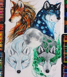 Ideas Tattoo Wolf Wolves Artists For 2019 Cute Animal Drawings, Cute Drawings, Wolf Artwork, Wolf Painting, Mythical Creatures Art, Anime Wolf, Fox Art, Wolf Tattoos, Tier Fotos