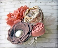 Coral Brown Cream Fabric Flower Headband Salmon by CrowningPetals, $25.50