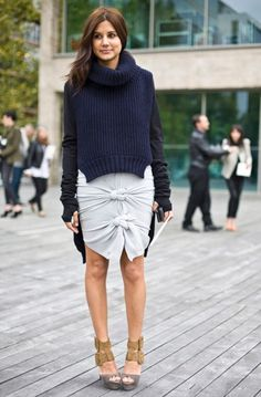 Navy knit + knotted skirt.