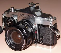 Vintage Konica Auto-Reflex 35mm SLR Film Camera, Made In Japan, First Focal-Plane-Shutter Auto Exposure 35mm SLR, Circa 1966.