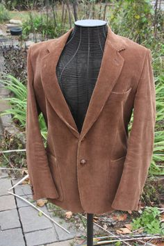 Brown Corduroy 70's Vintage Sports Jacket Lined Made in Romaina Men's Size Large by cricketfarmer on Etsy