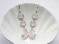 Pink 3 tier drop earrings
