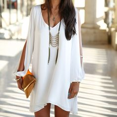 QUEEN™ Women's Chiffon V-neck A-line Long Sleeve Dresses