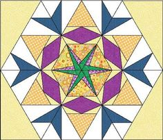 Spike Your English - block 4 - Diamonds All Around 60 degree design: Hexagon Patchwork, Patchwork Quilt Patterns, Paper Piecing Patterns, Hexagon Quilt, Quilt Block Patterns, Square Quilt, Quilt Blocks, 4 Diamonds, Sampler Quilts