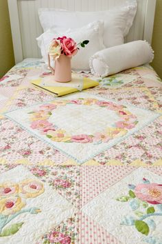 Amelia's Rose Garden, A Vintage Spool Block Of The Month Design By Verna Mosquera
