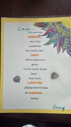 Sunshine poster for friend