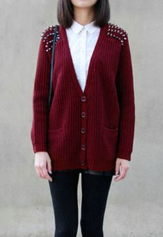 $29.99 [grzxy6600162]European Punk Style Rivet Pure Color Cardigan    cheershop - Clothing on ArtFire