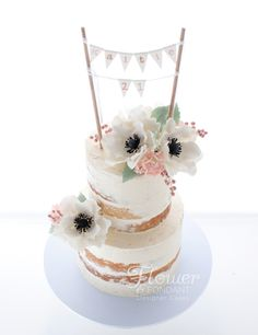 Semi-naked cake with sugar flowers and bunting! My lovely client provided me with a picture of the invites and I … Cupcake Cookies, Cupcakes, Wedding Cookies, Wedding Cake, Teddy Bear Birthday, 21st Cake, Naked Cakes, Occasion Cakes, Buttercream Cake