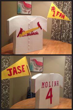 Jase's Valentine's day box. Cardinals/Yadi baseball jersey. Opening at neck.