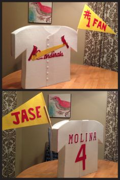 Jase's Valentine's day box. Cardinals/Yadi baseball jersey. Opening at neck.