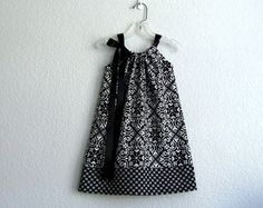 Girls Black and White Pillowcase Dress Black and by dreambirds
