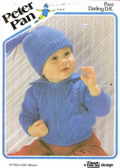 Peter Pan 489 zipper cardigan baby vintage knitting pattern Listing in the Baby & Children,Patterns,Knitting & Crochet,Crafts, Handmade & Sewing Category on eBid United Kingdom