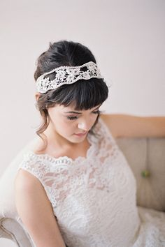 Hand Beaded Lace Headband, Double Crystal Headband with Guipure Lace #212HB