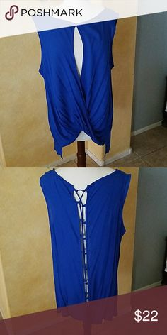 🔥🔥🔥Super Sexy top Royal blue top, laces up the back and has super sexy cutout in the front. This top screams date night or club  time!  New, never worn, no tags Destiny 101 Tops Blouses