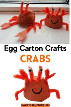 Looking for easy animal crafts for kids? Egg carton crafts are cheap, easy and fun! Learn how to make these adorable egg carton crabs. #eggcartonanimals #animalcrafts #eggcartoncrafts #kidscrafts Safari Animal Crafts, Animal Crafts For Kids, Craft Projects For Kids, Easy Crafts For Kids, Craft Activities For Kids, Art For Kids, Indoor Activities, Kid Crafts, Art Projects