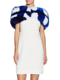 Colorblock Fur Stole by Oscar de la Renta at Gilt