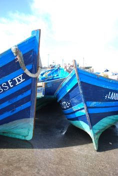Essaouira blue fishing boats.