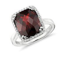 Garnet and Diamond Halo Cushion-Cut Ring in 14k White Gold