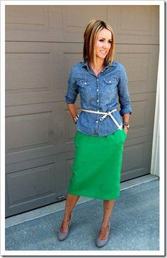 chambray shirt, kelly green skirt, nude shoes