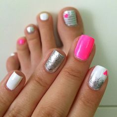 Pink silver glitter sparkle hearts gradient white fingers matches toes manicure pedicure nails