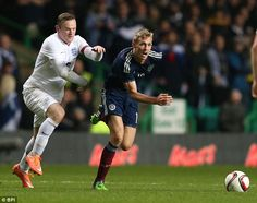Fletcher, up against Wayne Rooney with Scotland, has fallen out of favour for his national side too Wayne Rooney, Manchester United, Scotland, Soccer, The Unit, Football, Running, Sports, Hs Sports