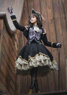 AOWlolita -The Dead Pirate- Lolita Set,Lolita Dresses, Gothic Lolita Fashion, Steampunk Fashion, Gothic Lolita Dress, Pretty Outfits, Pretty Dresses, Mode Kimono, Lolita Cosplay, Fantasy Dress, Cosplay Outfits