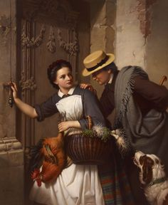 La Flirt by Ferdinand Minor (German 1814-1883)....beware my dear....