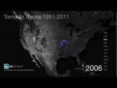 Using almost sixty years' worth of data from NOAA, designer John Nelson has produced a mesmerizing visualization of #tornado activity in the United States.
