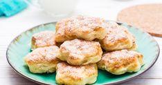 Ha valami gyors, finom, könnyű újdonságra vágysz, a túrós kekszet feltétlenül kóstold meg! Salmon Burgers, Hamburger, Pancakes, Bread, Breakfast, Sweet, Ethnic Recipes, Food, Morning Coffee