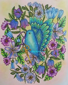 "From ""Blomster mandala"" by Maria Trolle. Colored with Prismacolor Premier and Faber-Castell Polychromos. Sakura Gelly Roll for details. #coloring #coloringforadults #adultcoloringbook #artherapy #mindfulness #art #color #colorbook #colorbooks #flowers #blomstermandala #mariatrolle #bluebird #fabercastell #polychromos #prismacolor"