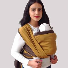 Baby Wrap Sling Valentina. #didymos #babywearing #tragetuch #babywrap #orange #gold #anthracite #anthrazit #organiccotton #cotton
