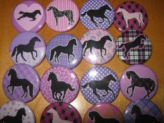 20 Pin Back Button Party Favors Horse Party Theme 1.25 inch Buttons. $10.00, via Etsy.