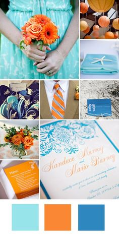 Wedding Colors: Teal + Orange + Cerulean would add coral/pink and remove the darker blue