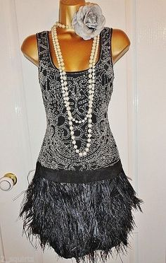 WAREHOUSE 1920's flapper feather beaded dress size UK 12 USA 8 Eu 40 Gatsby