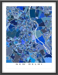 This New #Delhi, #India city #map has a modern design made from many little…