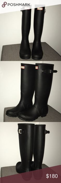 Black Matte Hunter Boots Never worn almost new! Tall rain boots, waterproof, built for a great fit and comfort. Up to calf area, insole length ( recommended to use one size bigger than your actual size). Very versatile and cute! Hunter Boots Shoes Winter & Rain Boots