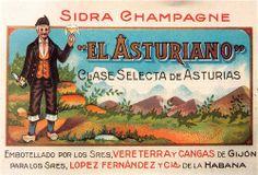 Antigua etiqueta de la sidra champagne EL ASTURIANO