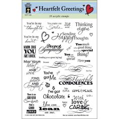 Hot Off The Press Acrylic Stamps- Heartfelt Greetings
