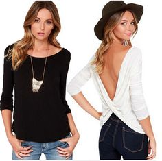 EAST KNITTING E47 Fashion 2015 Long Sleeve Punk T Shirt Women Clothing Sexy Backless High Street Casual Blusas White Black Tops-in T-Shirts from Women's Clothing & Accessories on Aliexpress.com | Alibaba Group