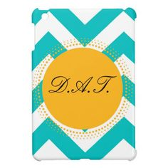Monogram Customize Initials Yellow Turquoise iPad Mini Cover