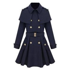 Coats - Cape-shawl Navy-blue Coat   #pariscoming your personal style online store. like it? buy now.