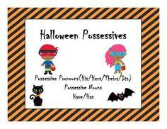 Halloween Possessive Nouns and Pronouns speech therapy activity$