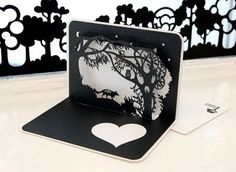 silhouette pop up card papercut