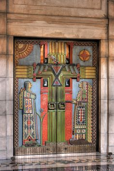 Interior Doors, Nebraska State Capitol, Lincoln, Nebraska by kingstreasurephoto. The sculptural elements of the building were designed by sculptor Lee Lawrie.