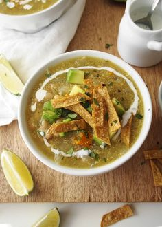 This Roasted Tomatillo and White Bean Soup comes together quickly for a flavorful, spicy, Mexican-inspired vegetarian meal! Tomitillo Recipes, Bean Soup Recipes, Veggie Recipes, Mexican Food Recipes, Whole Food Recipes, Vegetarian Recipes, Cooking Recipes, Healthy Recipes, Vegetarian Barbecue