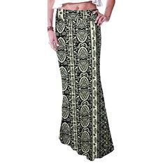 b1fcf7962 ElevinTM Womens Poly Span Floral Prints Full Length Long Maxi Skirt M  Multicolor2 ***