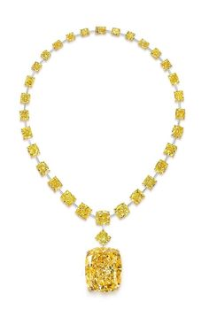 132-Carat 'Golden Empress' Fancy Yellow Diamond on a necklace of yellow diamonds