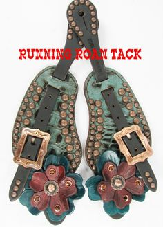 Aqua Croc Spur Straps with Hand Dyed Leather Flowers and Swarovski Crystals by Running Roan Tack